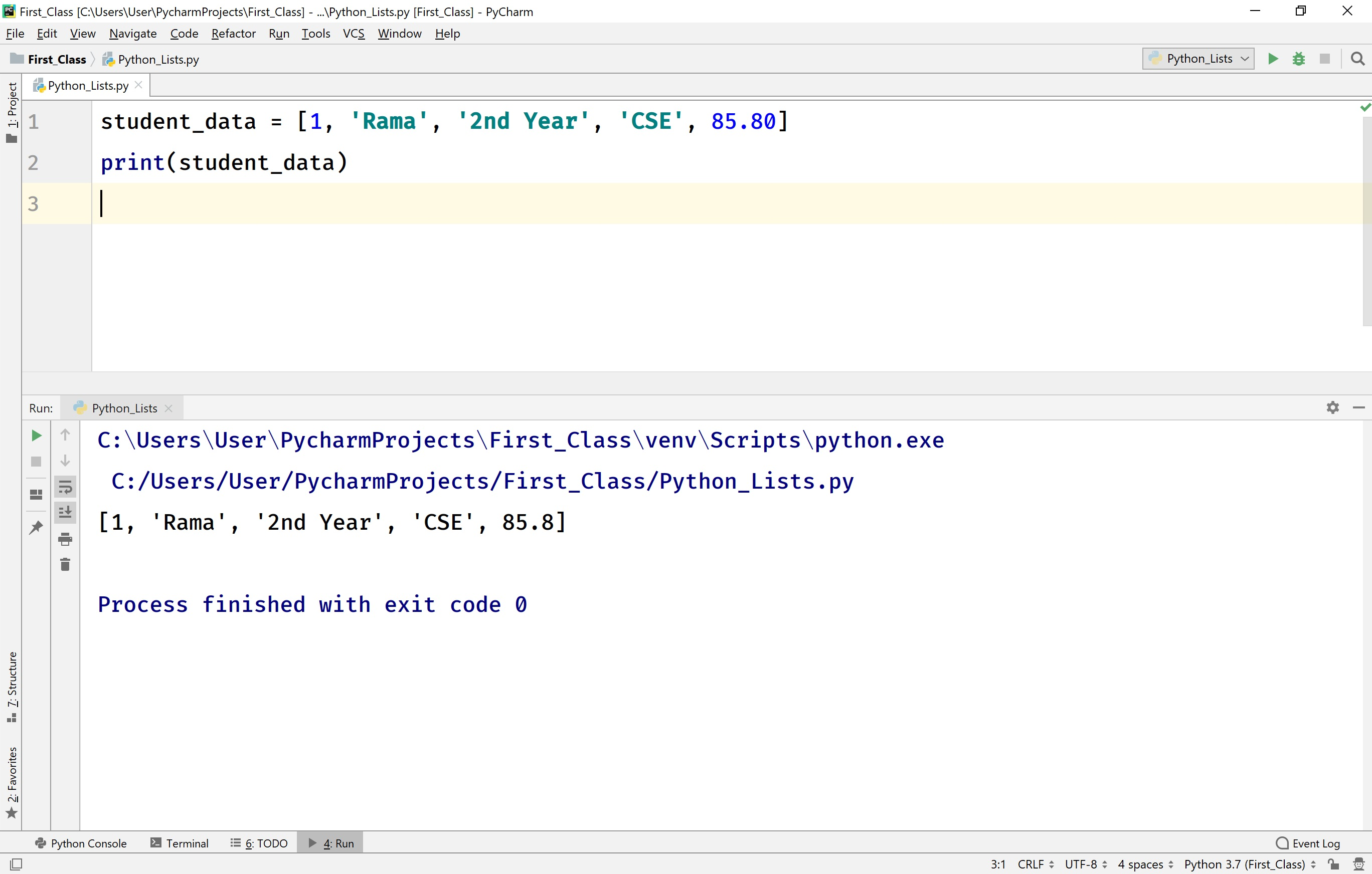 Class in python